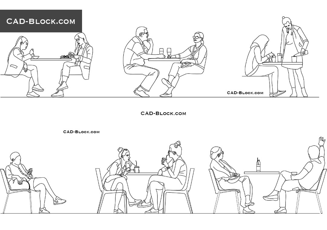 People Sitting In Cafe Download Autocad Blocks Elevation