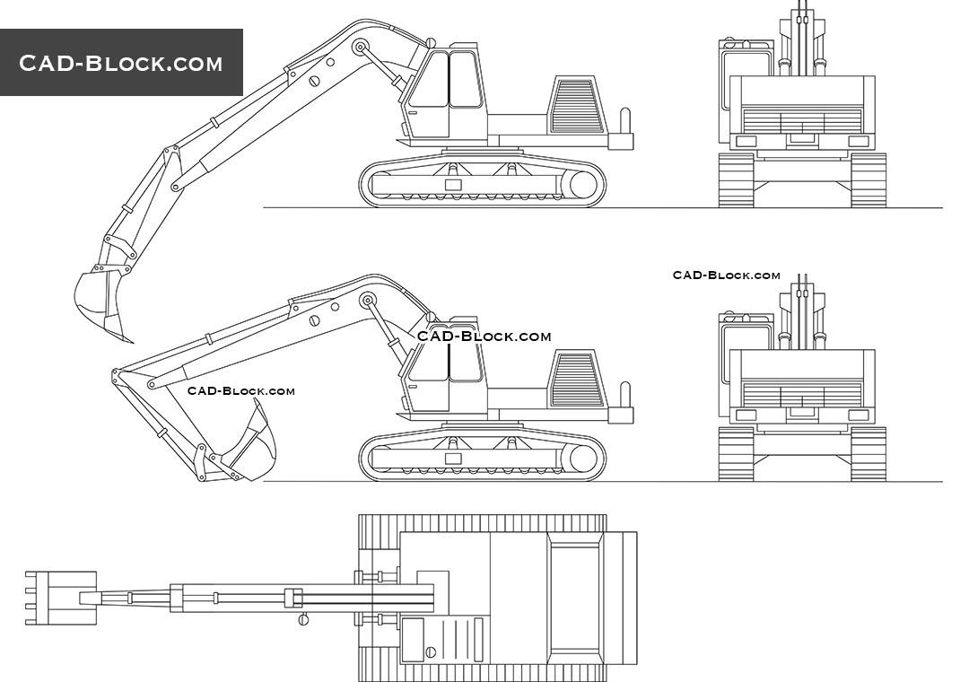 Excavator Cad Block DWG AutoCAD Model Free