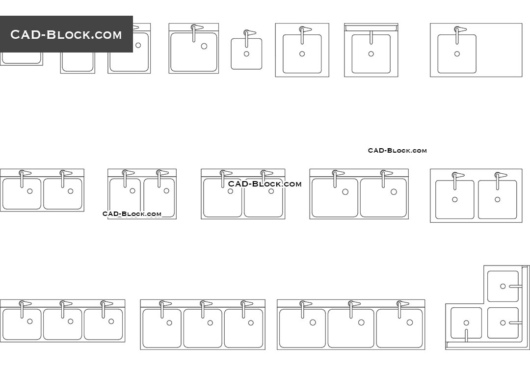 Commercial Sink AutoCAD blocks free download