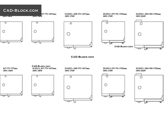Gas Ranges >> Appliances CAD Blocks free download