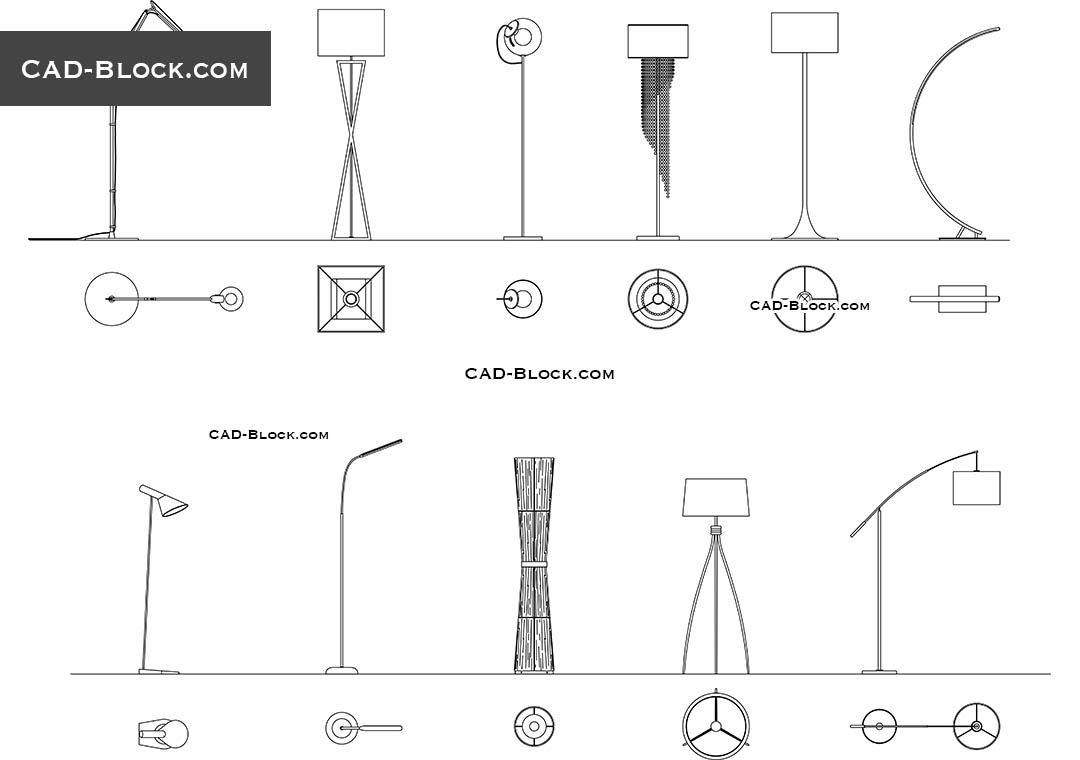 Floor Lamps Pack - CAD Blocks, AutoCAD file