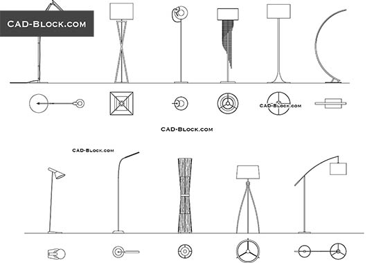 Floor Lamps Pack buy AutoCAD Blocks