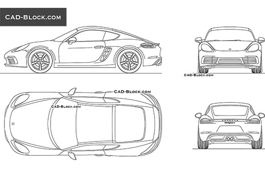 Porsche Cayman (2016) buy AutoCAD Blocks