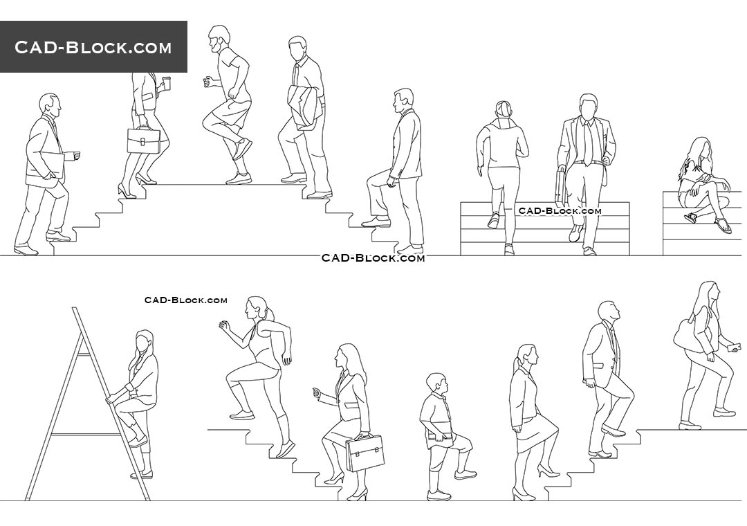 People Walking Up Stairs - CAD Blocks, AutoCAD file
