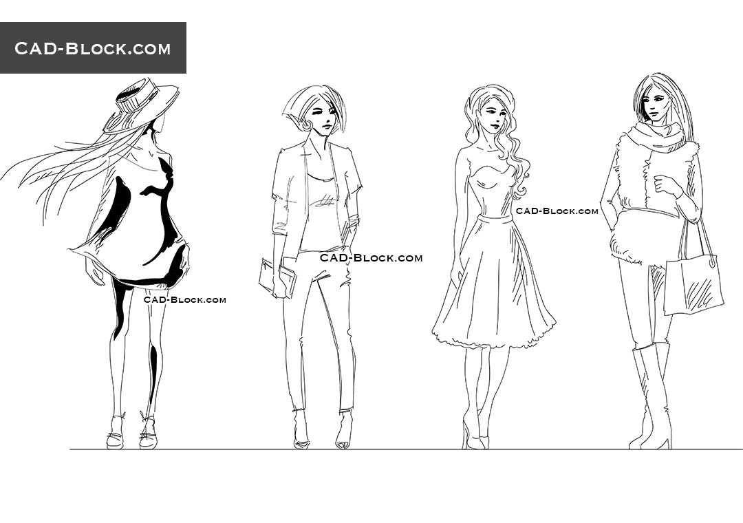 Girls Sketch - CAD Blocks, AutoCAD file