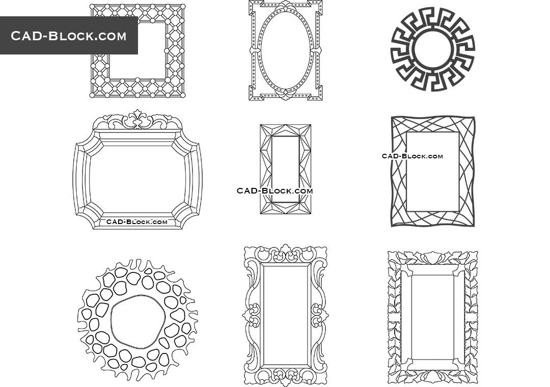 Free CAD blocks of mirrors download, 2D AutoCAD models
