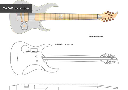 Guitar - download free CAD Block