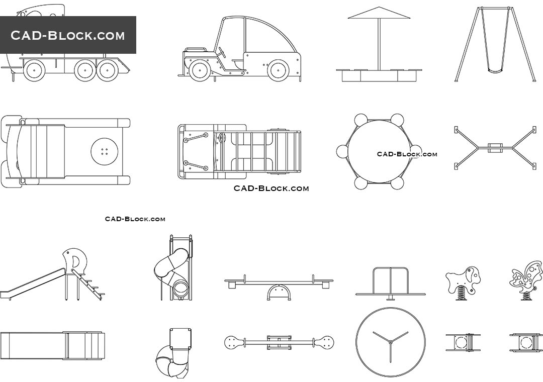 Playground Equipment Autocad Drawings Download Dwg Blocks And 2d Models