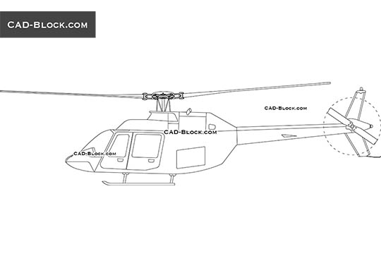 Helicopter BELL-206B - download free CAD Block