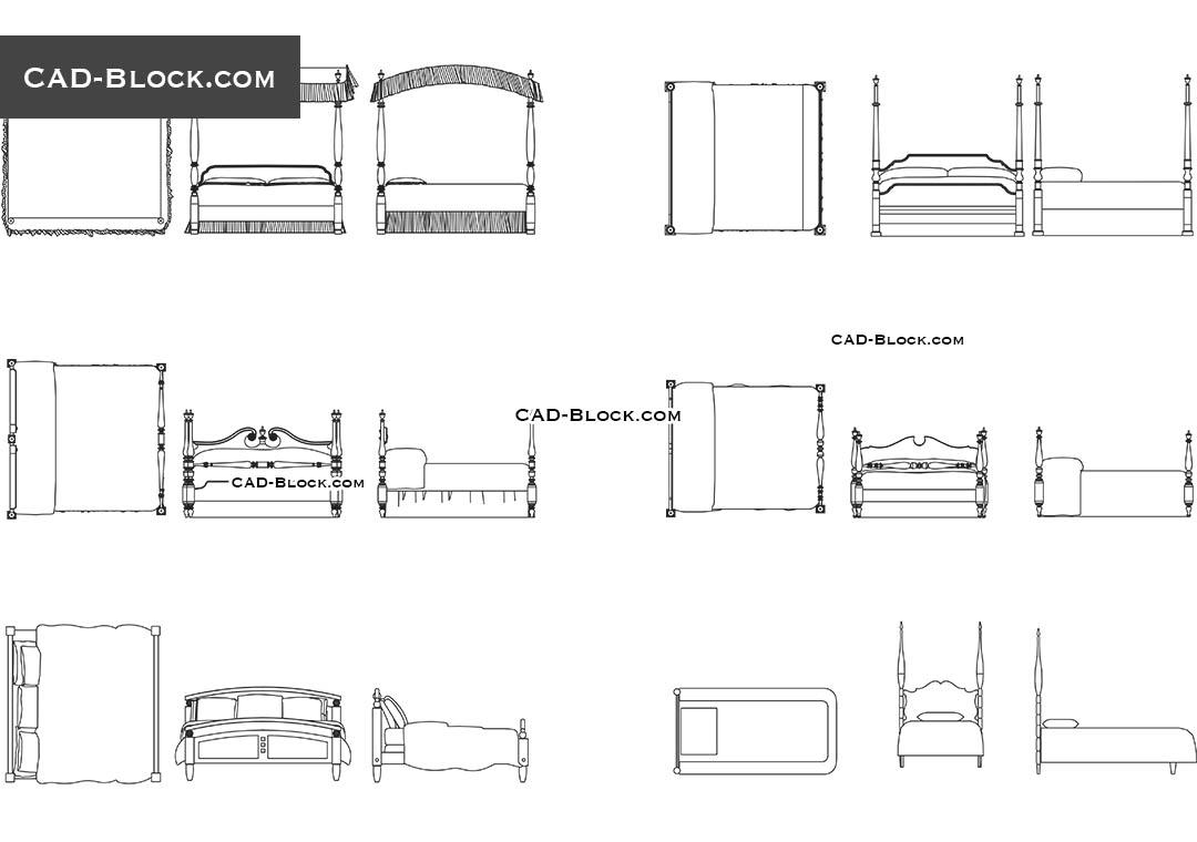 Bed With Pillars - CAD Blocks, AutoCAD file