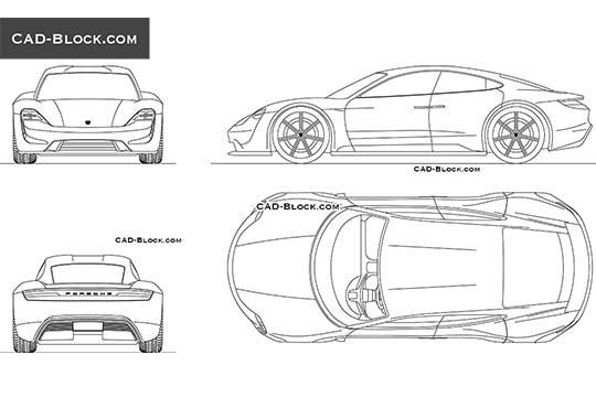 Porsche Mission E buy AutoCAD Blocks