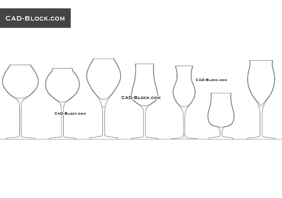 Wine Glasses - CAD Blocks, AutoCAD file
