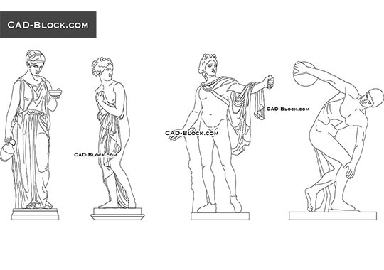 Classical Sculptures - download free CAD Block
