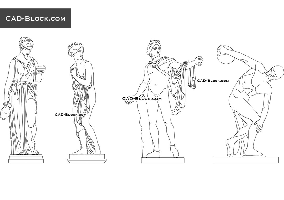 Classical Sculptures - CAD Blocks, AutoCAD file