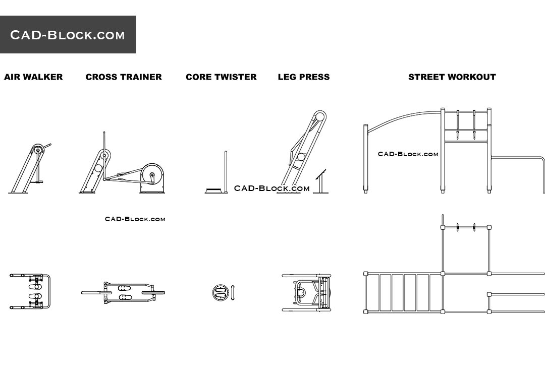 Outdoor Gym Equipment free CAD blocks