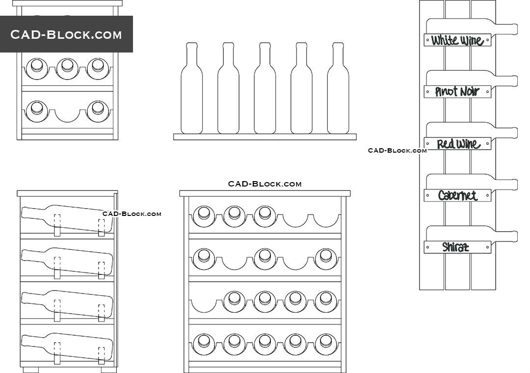 Wine Rack CAD Block download free