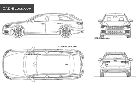 Audi A6 Avant (2018) - download free CAD Block