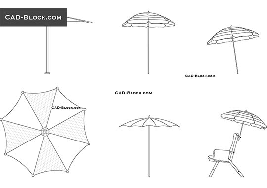 Beach Umbrella - download free CAD Block