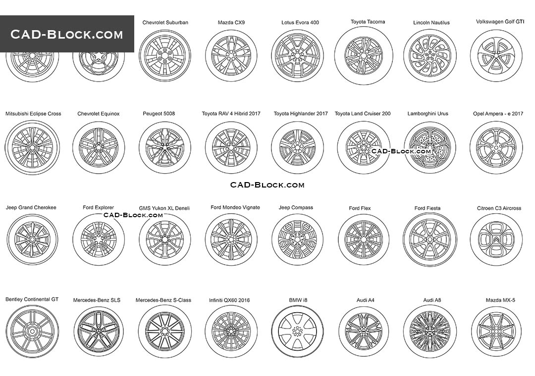 Car Wheel Disc - CAD Blocks, AutoCAD file