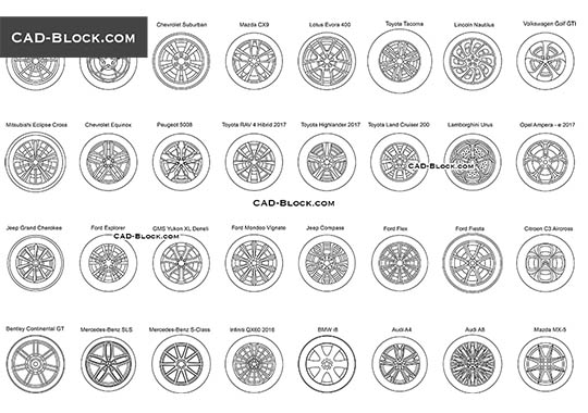 Car Wheel Disc - download free CAD Block