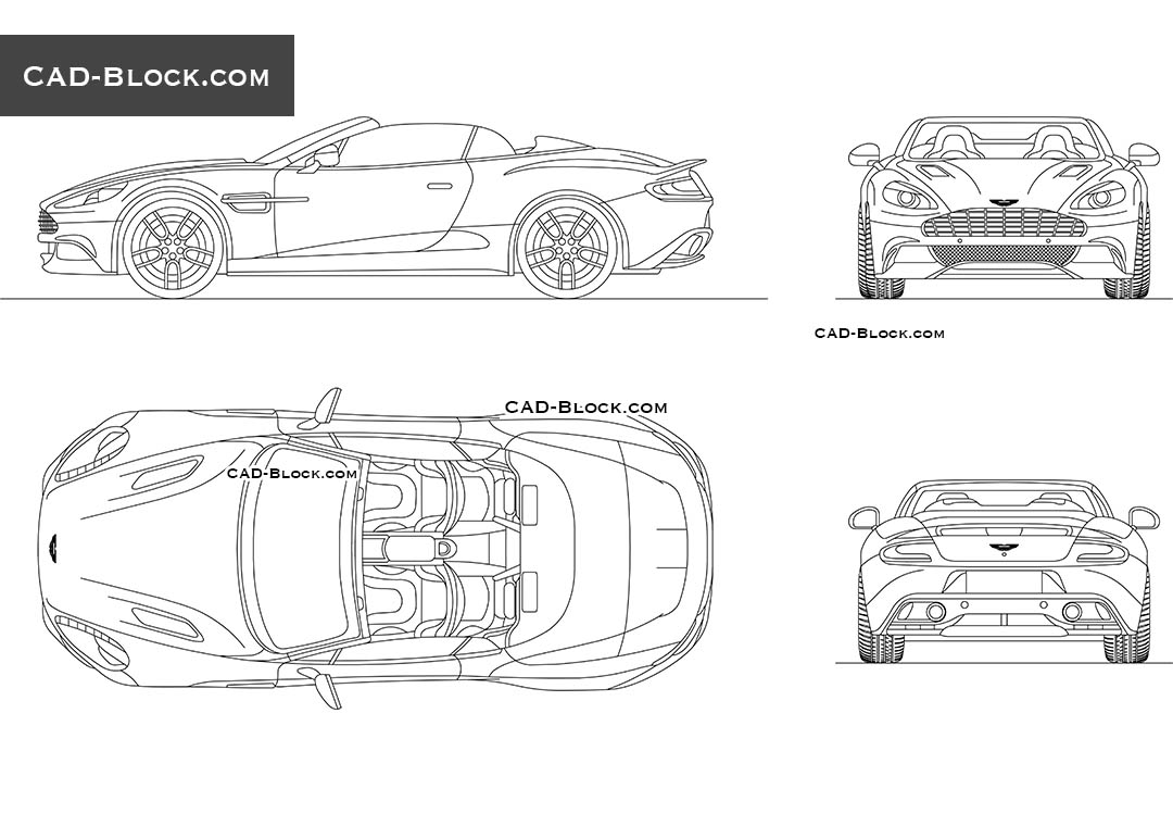 Aston Martin Vanquish 2D AutoCAD model, car in front, side, rear, top views