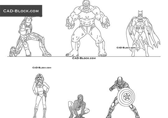 Superheroes - download free CAD Block