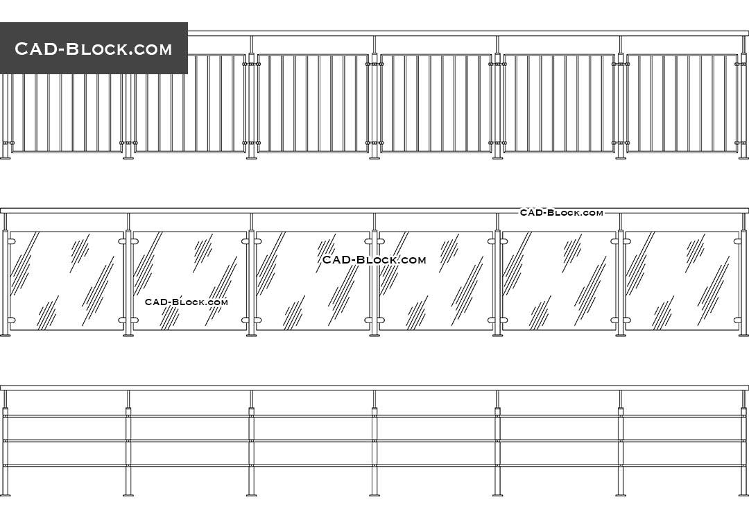 Modern Railing AutoCAD Blocks in elevation