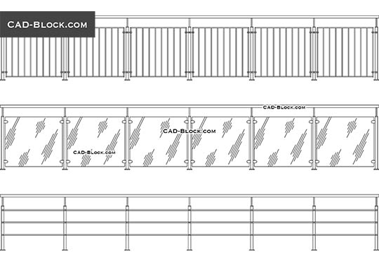 Modern Railing - download free CAD Block