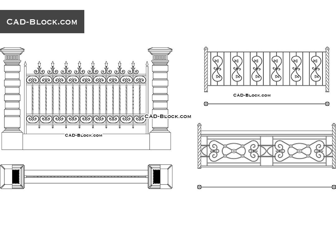 Wrought Iron Fence, Elevation, Plan - CAD Blocks, AutoCAD file