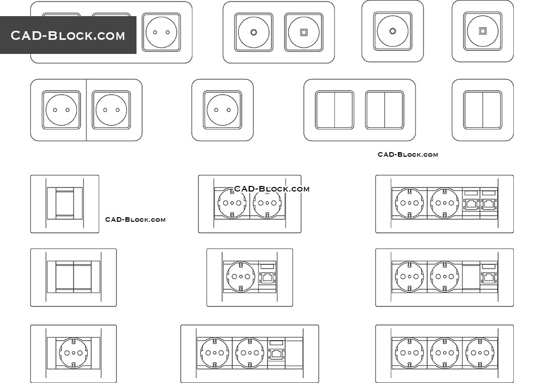 Sockets and Switches - CAD Blocks, AutoCAD file
