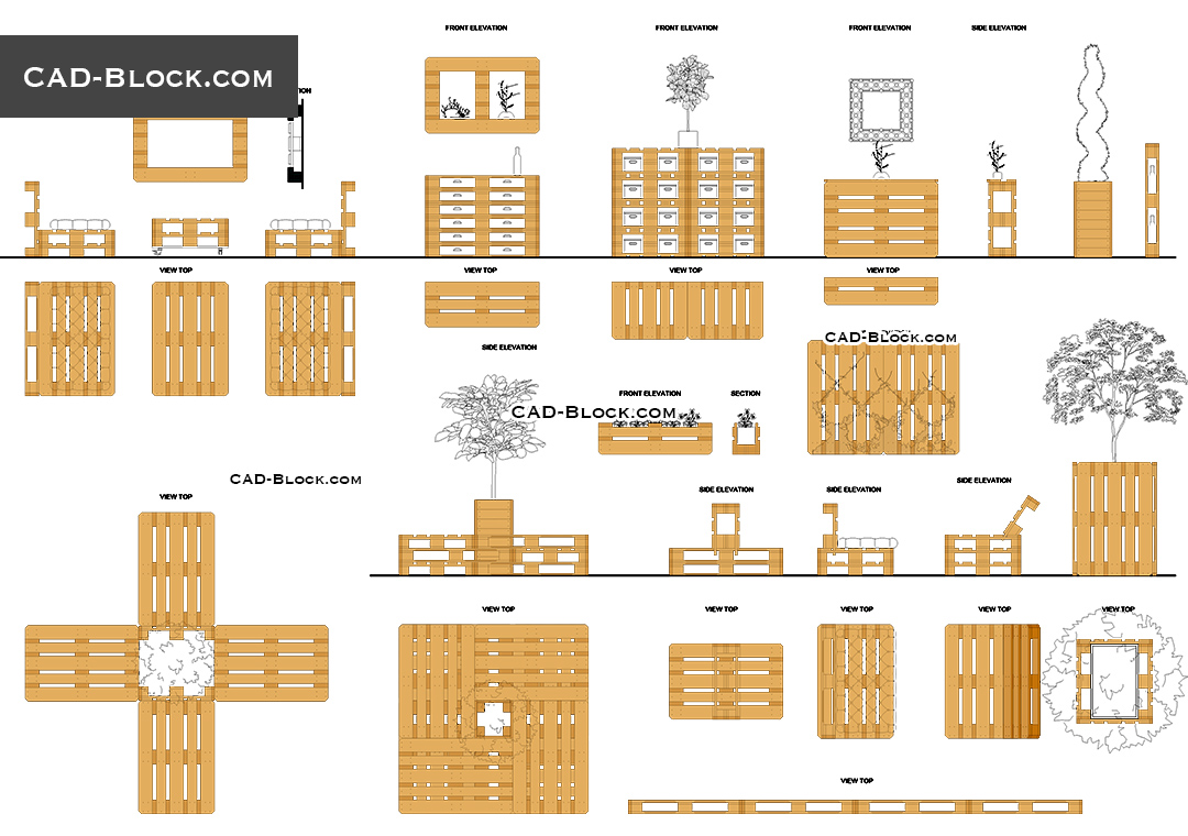 Pallet Furniture - CAD Blocks, AutoCAD file