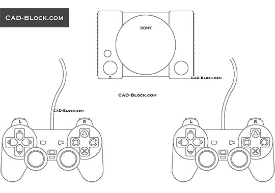 Sony Playstation - download free CAD Block