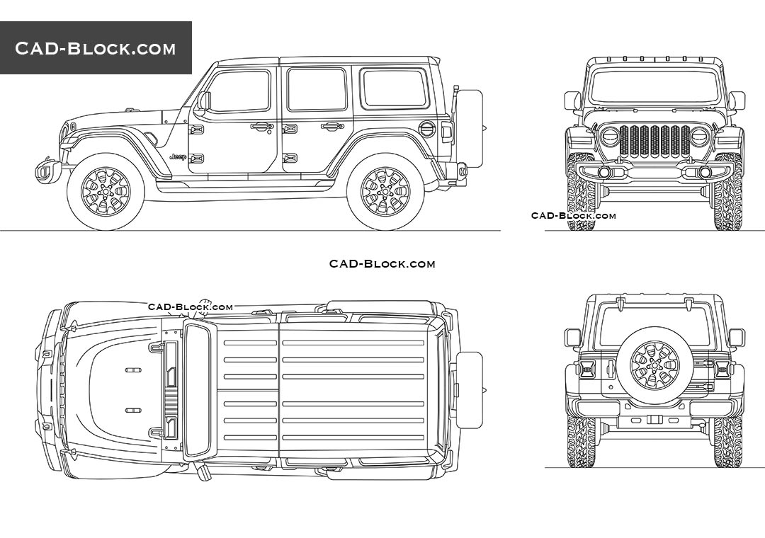 Jeep Wrangler CAD Blocks, Front, Side, Rear, Top views