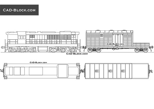 Locomotive and Rail Wagon - free CAD file