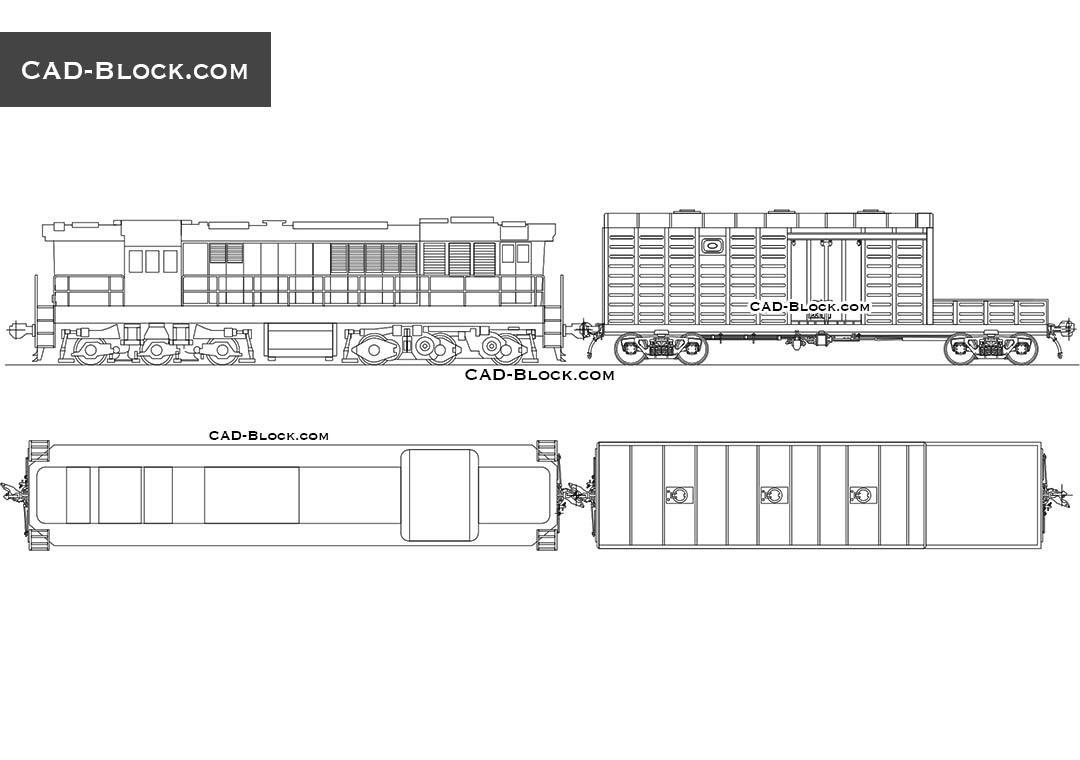 Locomotive and Rail Wagon - CAD Blocks, AutoCAD file