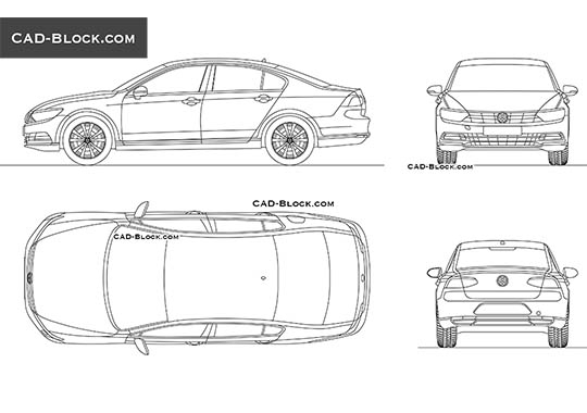 Volkswagen Passat B7 - download free CAD Block