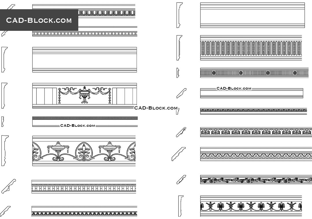 Cornices Pack - CAD Blocks, AutoCAD file