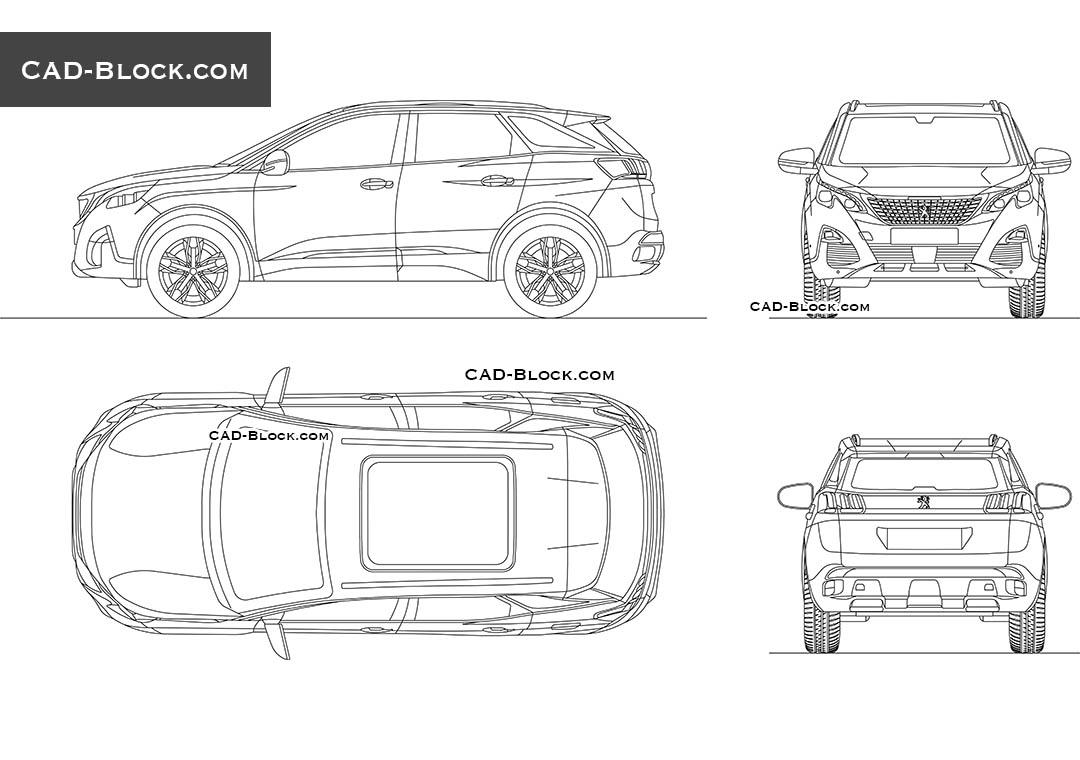 peugeot 3008 car dwg block  premium autocad drawing from
