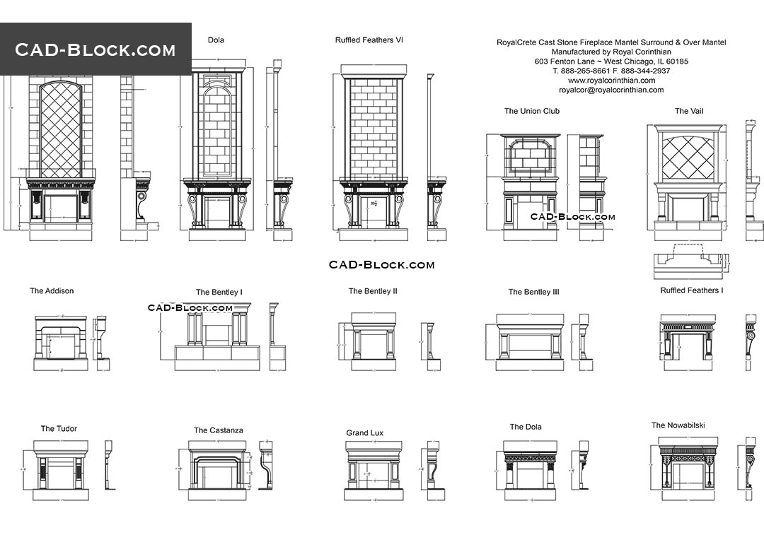 Fireplaces - CAD Blocks, AutoCAD file