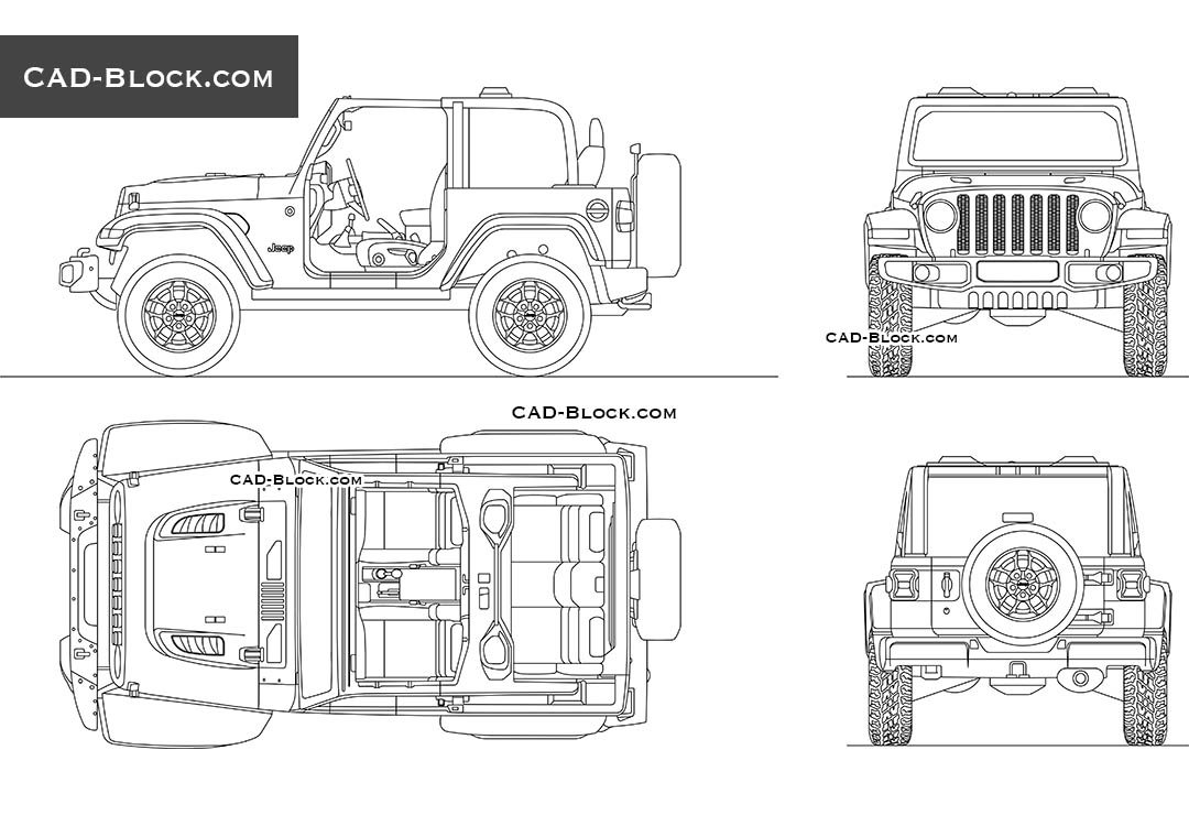 Jeep Wrangler Rubicon - CAD Blocks, AutoCAD file