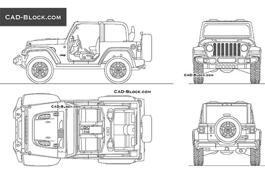 Jeep Wrangler Rubicon buy AutoCAD Blocks