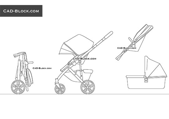Baby Stroller - download free CAD Block