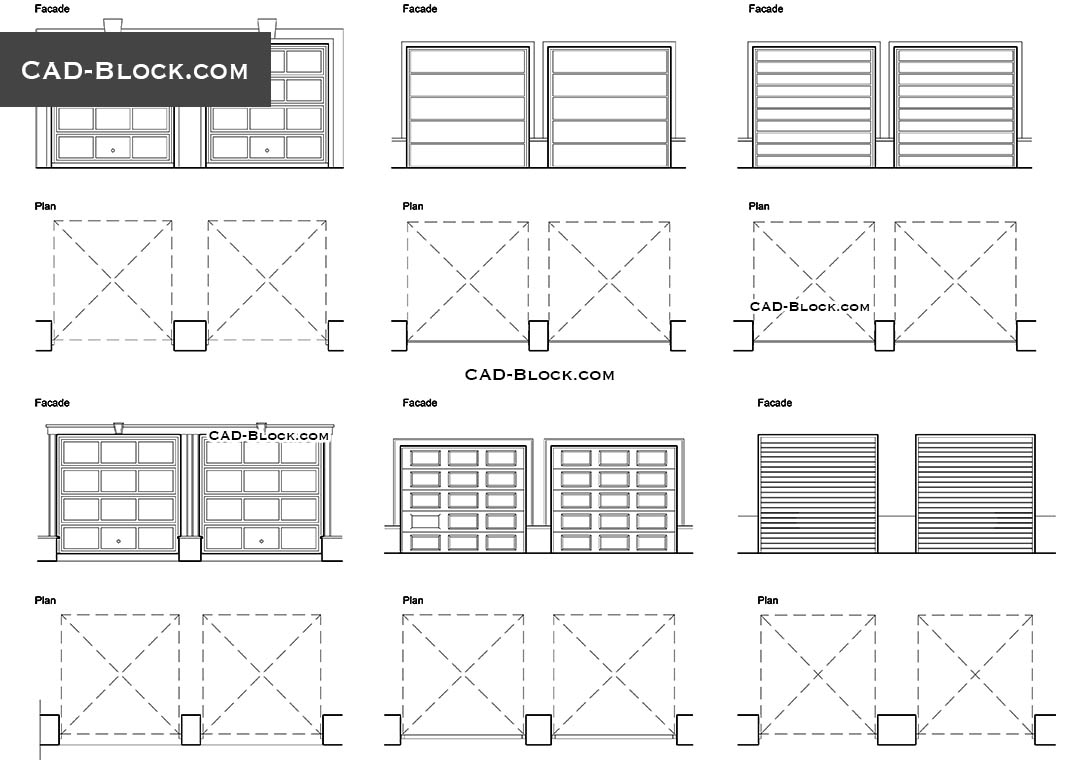 Garage Doors CAD block, free AutoCAD file