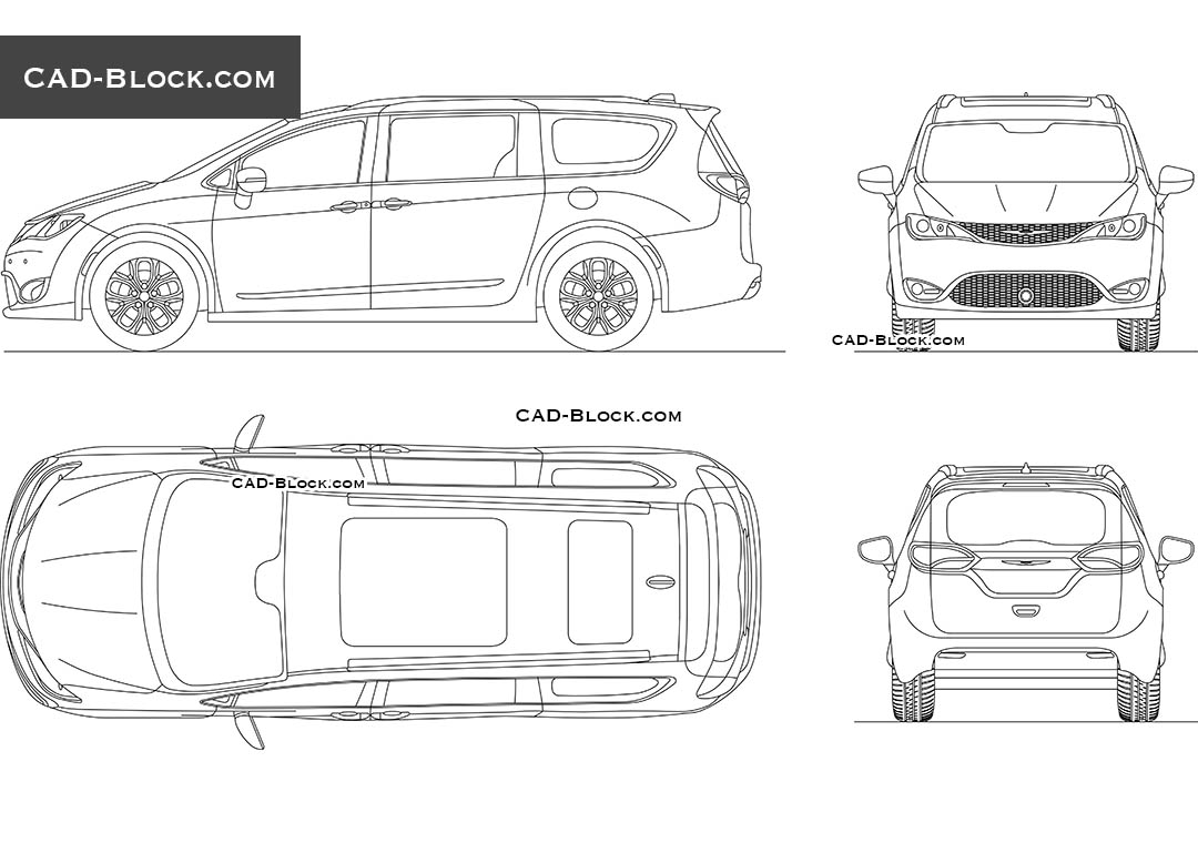 Chrysler Pacifica AutoCAD blocks in all views, 2D DWG models