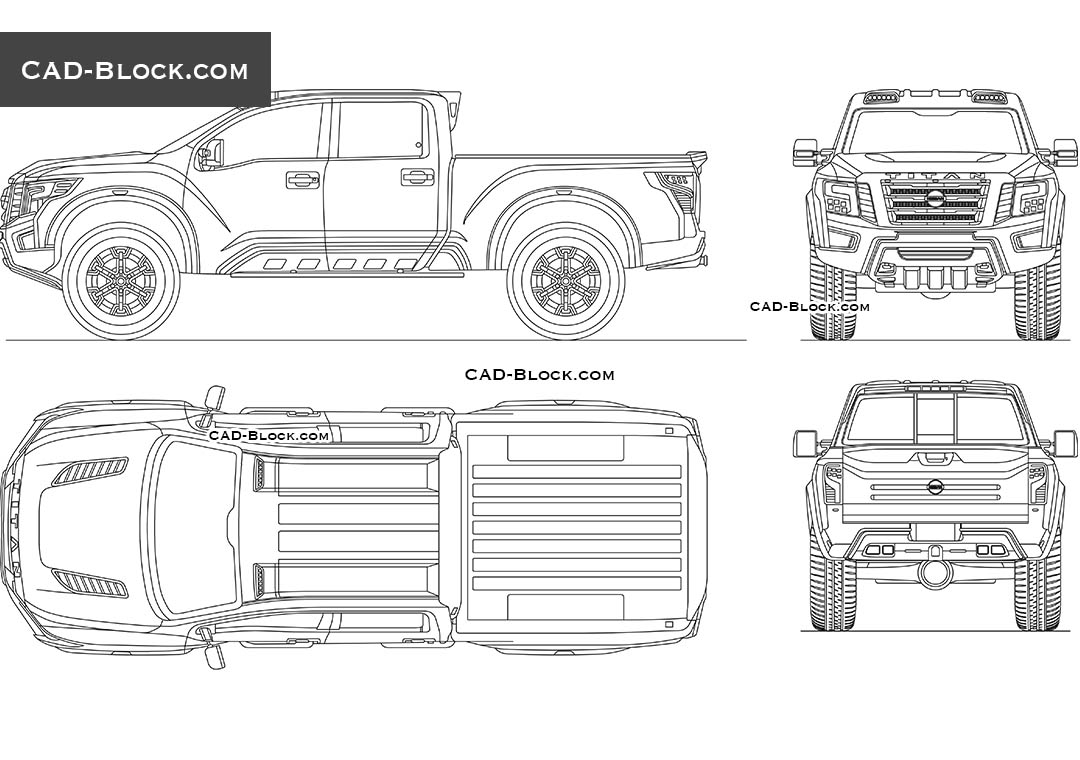 Nissan Titan Warrior CAD Block. 2D AutoCAD model in all views