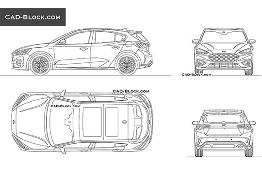 Ford Focus St-line - download free CAD Block