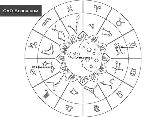 Zodiac Signs - download free CAD Block