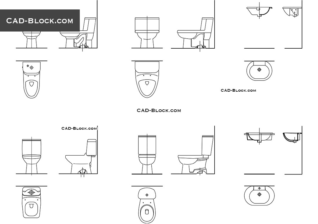 Toilet Section CAD block detail in DWG, free AutoCAD drawings