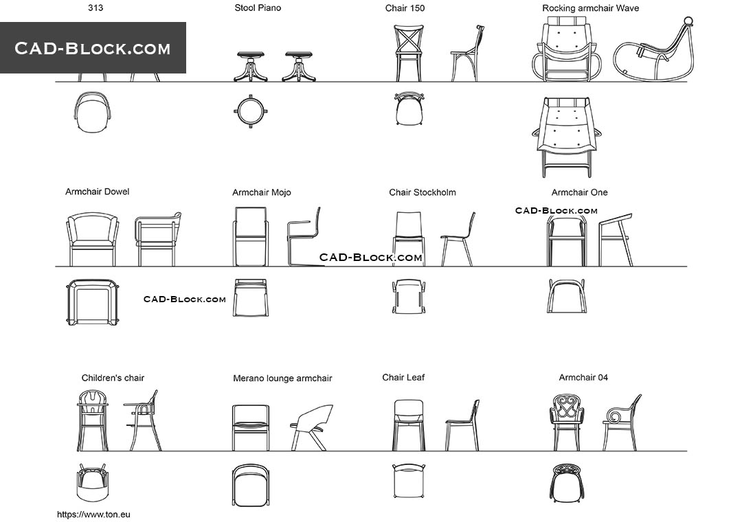 Chairs and Armchairs - CAD Blocks, AutoCAD file