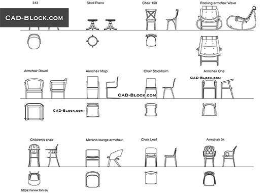 Chairs and Armchairs buy AutoCAD Blocks
